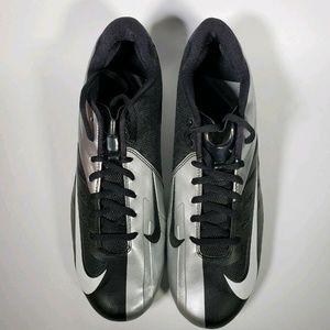 Nike Black Silver Vapor Pro Low Football Cleats